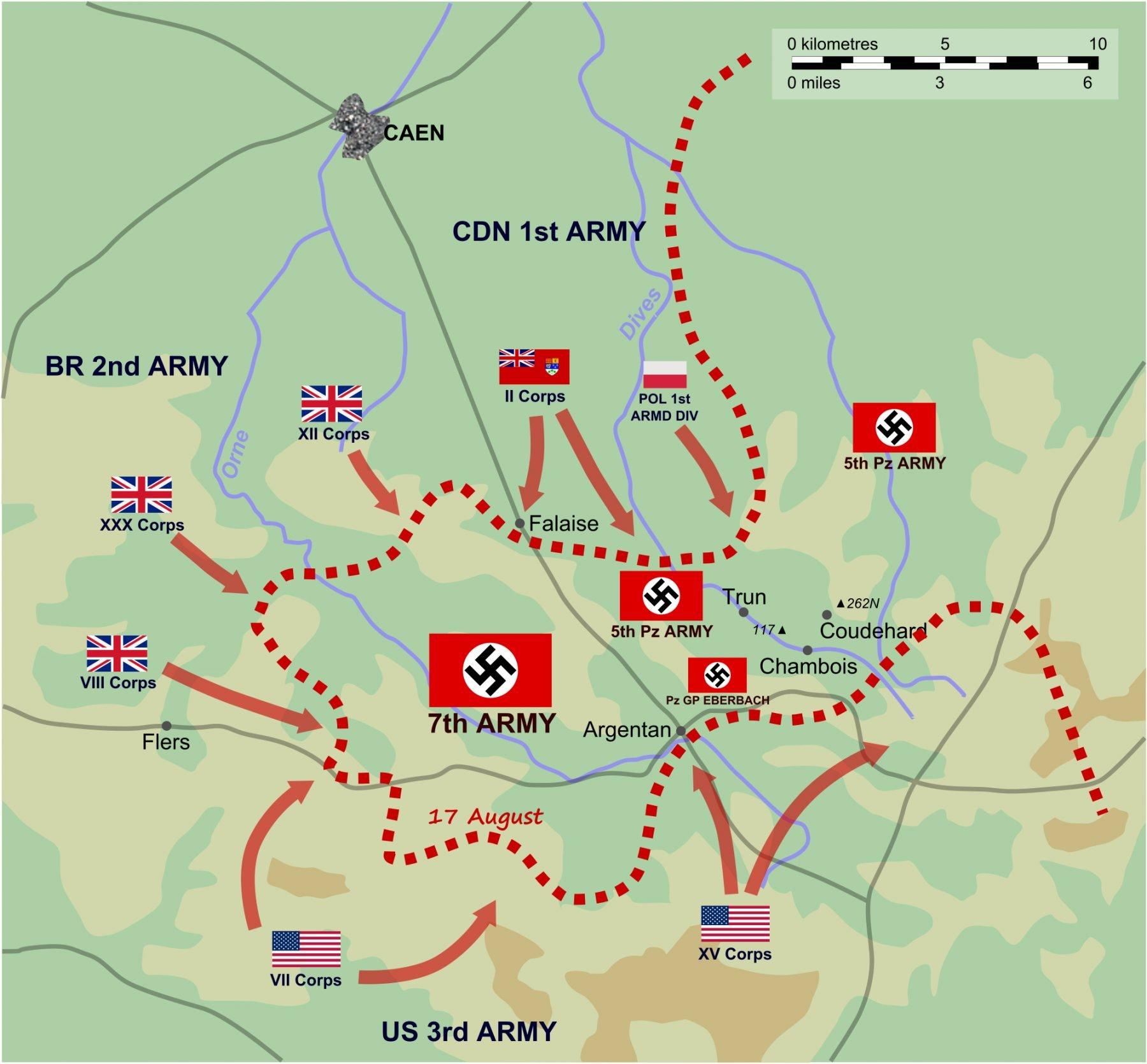kaart zak van Falaise